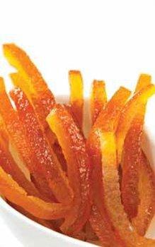 Orangenschalen-Stäbchen/-Streifen kandiert & abgetropft