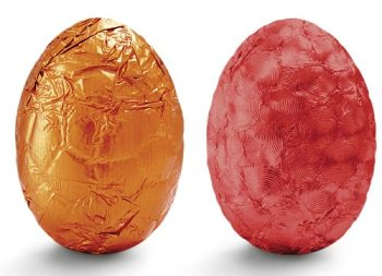 @ Pralinen-Eier milch Spekulatius (lose Ware) in Alu rot & orange