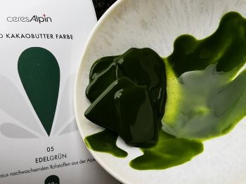 BIO Kakaobutter gefärbt grün | Lebensmittelfarbe nat. (50g) Chips