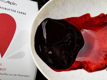 BIO Kakaobutter gefärbt rot | blutrot | Lebensmittelfarbe nat. (50g) Chips