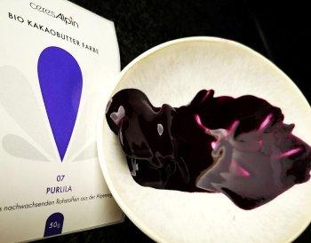 BIO Kakaobutter-Farbe violett-lila | Lebensmittelfarbe nat. (50g) Chips